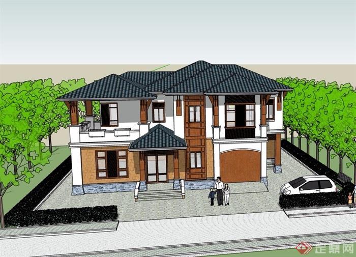 欧式风格详细的完整两层别墅设计su模型图片
