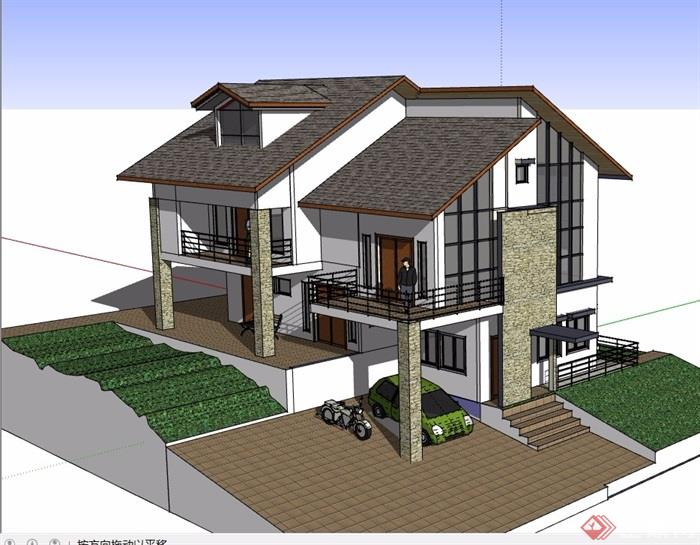 三层详细的中式别墅设计su模型