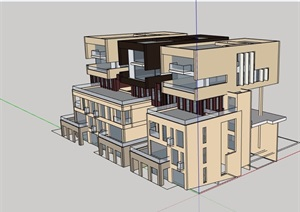某详细的商业住宅楼SU(草图大师)模型