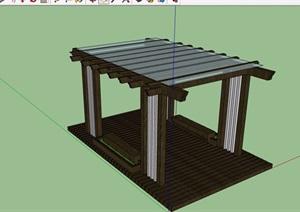园林景观玻璃廊架及坐凳素材设计SU(草图大师)模型