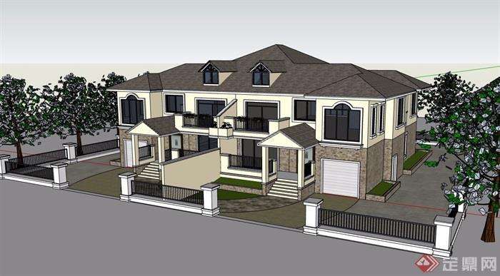 别墅双拼欧式两层设计su模型图片