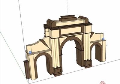 欧式风格详细的大门素材su模型