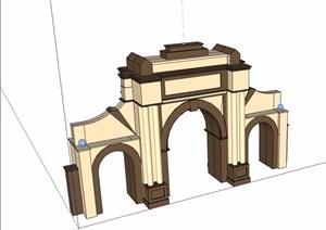 欧式风格详细的大门素材SU(草图大师)模型