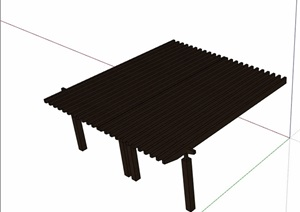 园林景观全木质廊架素材SU(草图大师)模型