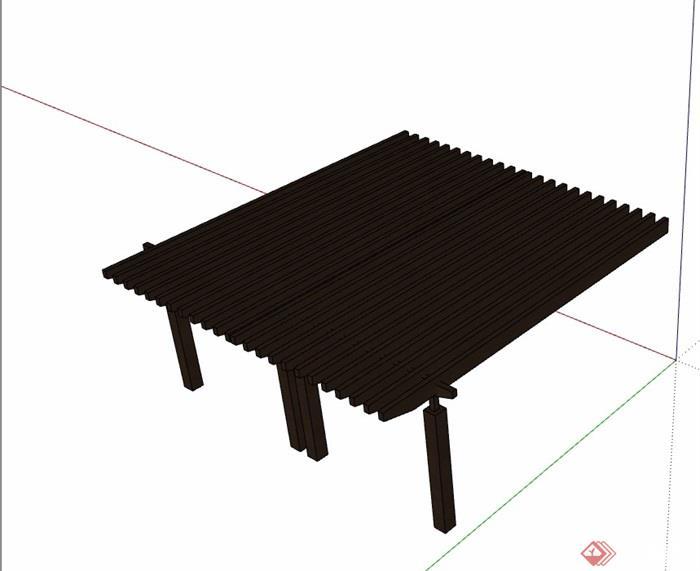园林景观全木质廊架素材su模型