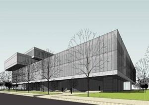 现代创意大型体块堆叠组合透明化表皮文化展示商业会议办公展览中心