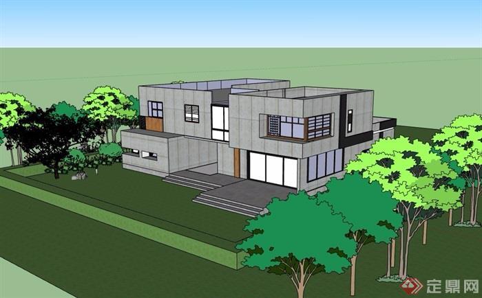 现代两层详细的别墅建筑su模型