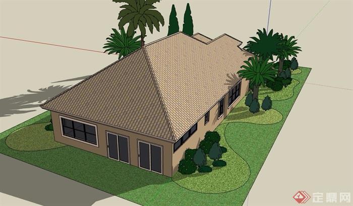 详细单层欧式风格住宅别墅设计su模型