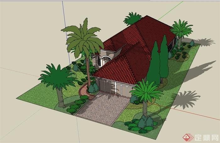 欧式风格单层详细的私人别墅设计su模型