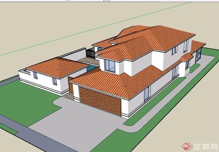 私人完整详细的别墅设计su模型