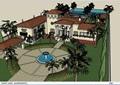 某欧式私人完整别墅及庭院设计su模型