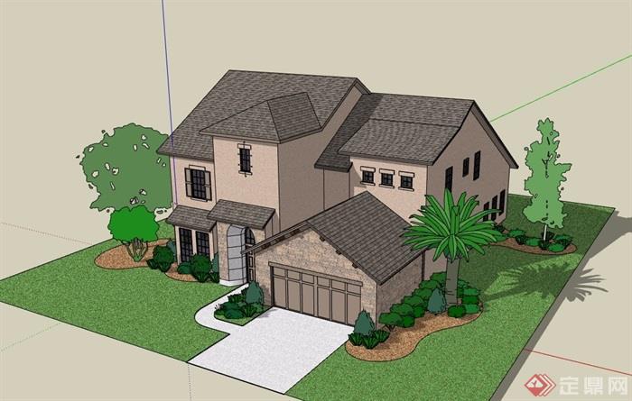 美式风格多层详细完整的别墅设计su模型