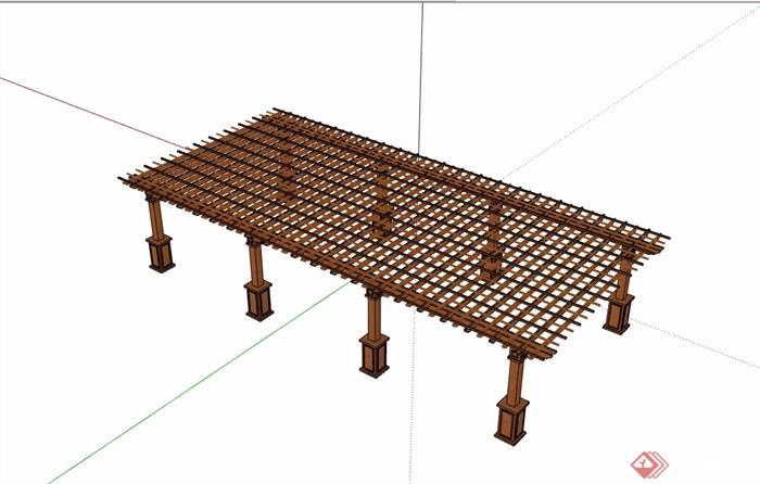 欧式全木质廊架设计su模型