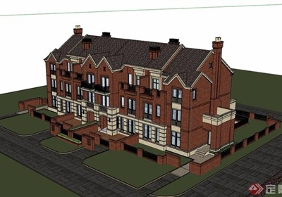 别墅联排建筑设计su模型