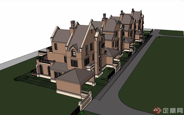别墅欧式详细经典建筑su模型