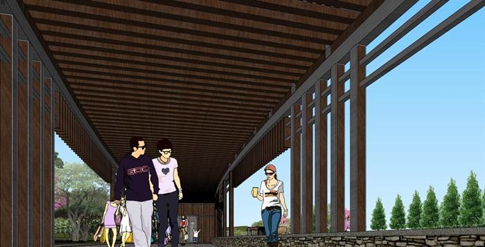 滨海山地旅游景区休闲景观森林公园中式仿古民宿群(1)