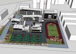 弧线倒角外框建筑青砖木格栅表皮现代简约中小学校园规划