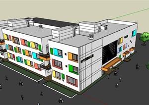 彩色窗洞表皮纯白简约派L型幼儿园托儿所设计