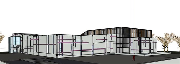 现代创意纹路表皮咬合围合式小型社区文化馆活动中心展览博物馆(2)
