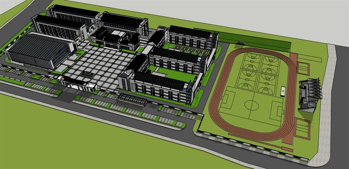 现代徽派新中式黑白色调中小学校园规划(1)