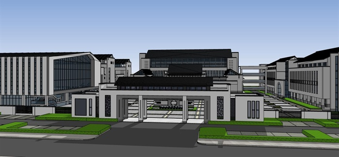 现代徽派新中式黑白色调中小学校园规划(2)