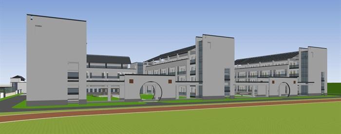 现代徽派新中式黑白色调中小学校园规划(4)