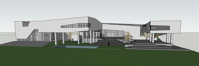 现代创意高差架空式简约连续雕塑式形体博物校史馆文化展示中心(2)