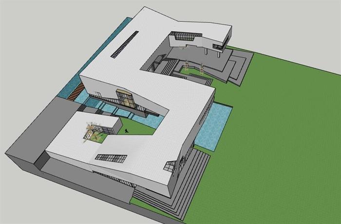 现代创意高差架空式简约连续雕塑式形体博物校史馆文化展示中心(1)