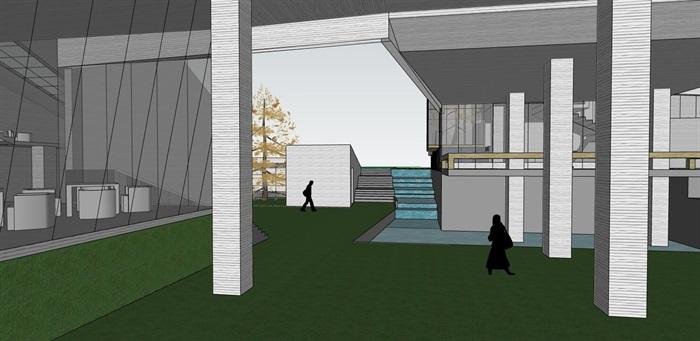 现代创意高差架空式简约连续雕塑式形体博物校史馆文化展示中心(3)