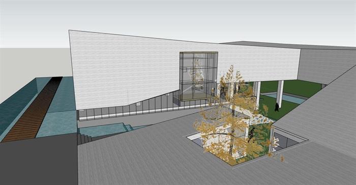 现代创意高差架空式简约连续雕塑式形体博物校史馆文化展示中心(4)