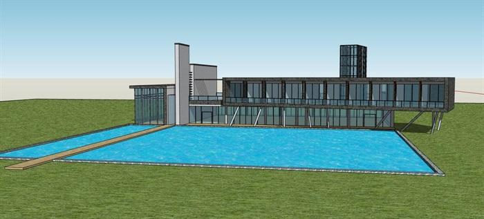 现代简约体块堆叠组合式滨水文化艺术馆沙龙小型活动中心(1)