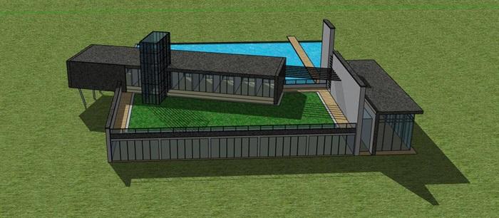 现代简约体块堆叠组合式滨水文化艺术馆沙龙小型活动中心(3)