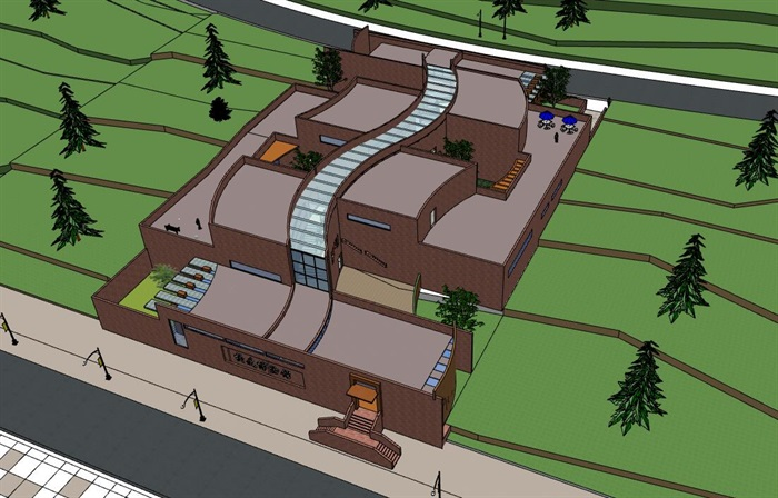 山地坡地高差式曲线雕塑式形体小型校史馆展览博物馆(1)