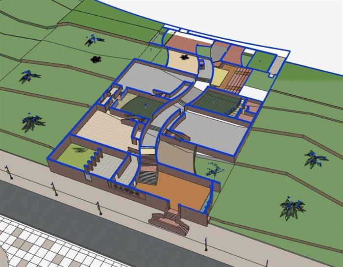 山地坡地高差式曲线雕塑式形体小型校史馆展览博物馆(3)