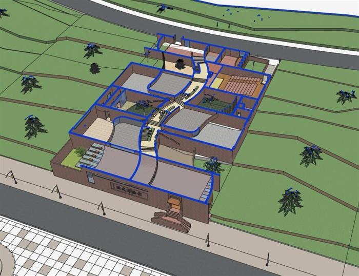 山地坡地高差式曲线雕塑式形体小型校史馆展览博物馆(4)