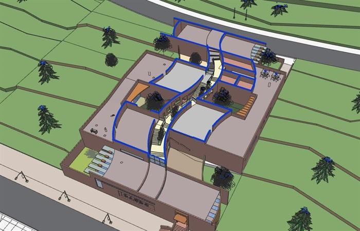 山地坡地高差式曲线雕塑式形体小型校史馆展览博物馆(5)