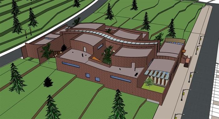 山地坡地高差式曲线雕塑式形体小型校史馆展览博物馆(6)