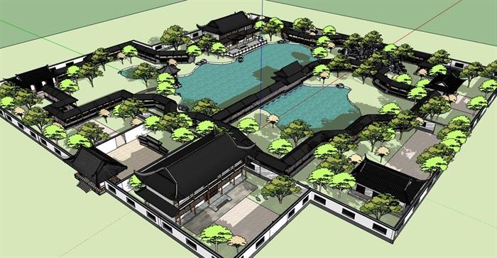 中式仿古古典园林式旅游景观景区(1)