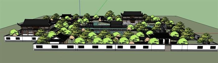 中式仿古古典园林式旅游景观景区(2)