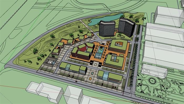 三角形扇形基地现代大型创意创业文化产业园办公基地总部规划金属格栅百叶表皮办公楼设计(1)