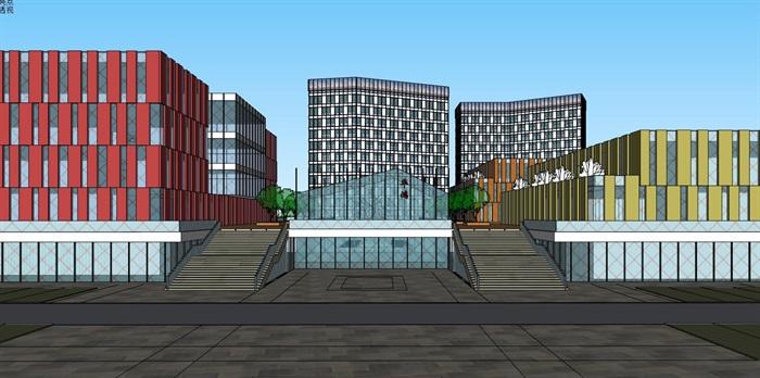 三角形扇形基地现代大型创意创业文化产业园办公基地总部规划金属格栅百叶表皮办公楼设计(3)