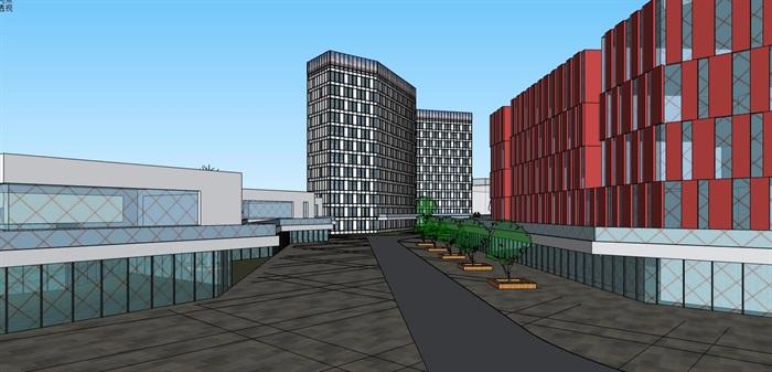 三角形扇形基地现代大型创意创业文化产业园办公基地总部规划金属格栅百叶表皮办公楼设计(4)
