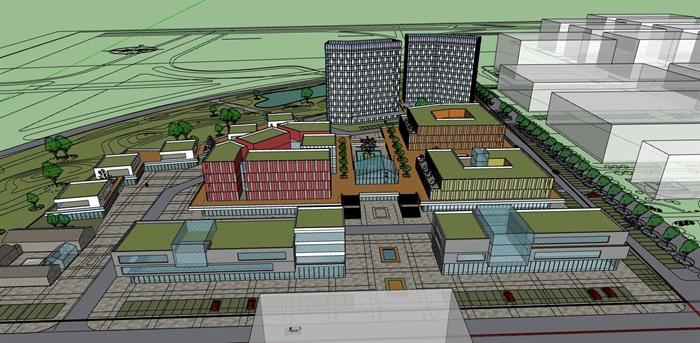 三角形扇形基地现代大型创意创业文化产业园办公基地总部规划金属格栅百叶表皮办公楼设计(2)