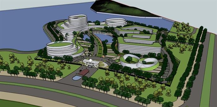 现代创意参数化流线曲线形体文化产业园创业办公基地总部规划设计(1)