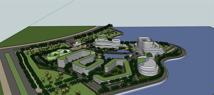 现代创意参数化流线曲线形体文化产业园创业办公基地总部规划设计(3)