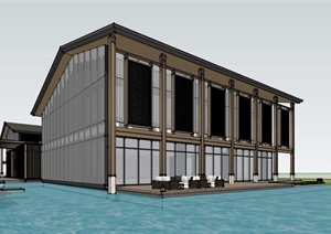 现代新中式钢木构禅意高端文化会馆活动中心休闲茶室餐厅