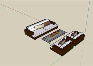 详细的沙发桌椅组合SU(草图大师)模型