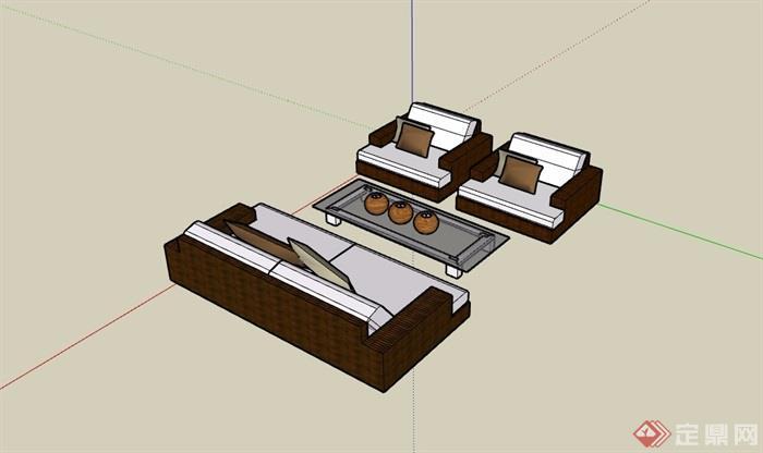 详细的沙发桌椅组合su模型
