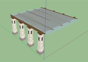 经典详细的玻璃廊架素材设计SU(草图大师)模型