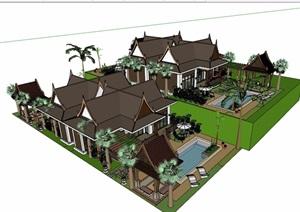 东南亚休闲住宅别墅模型